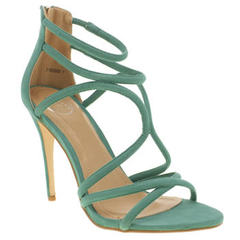 Missguided Green Rounded Strap High Heels