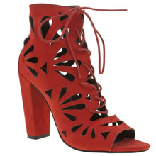 Missguided Red Petal Laser Cut Out High Heels