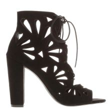 Missguided Black Petal Laser Cut Out Womens High Heels