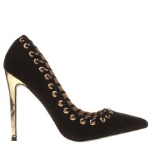 Missguided Black & Gold Eyelet Lace Court Womens High Heels