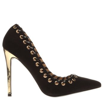 Missguided Black & Gold Eyelet Lace Court High Heels