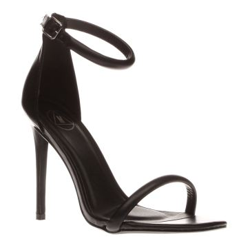 Missguided Black Strap Barely There Womens High Heels
