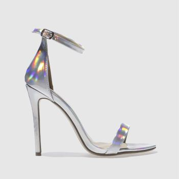 Missguided Silver Strap Barely There Womens High Heels