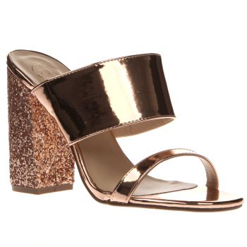 Womens Missguided Gold Glitter Block Heel High Heels