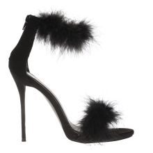 Missguided Black Feather Barely There Womens High Heels