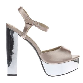 Missguided Natural Satin Platform Sandal High Heels