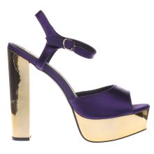 Missguided Purple Satin Platform Sandal Womens High Heels