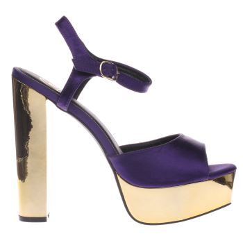 Missguided Purple Satin Platform Sandal High Heels