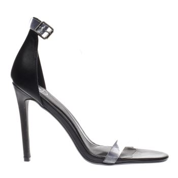 Missguided Black Perspex Rounded Strap High Heels
