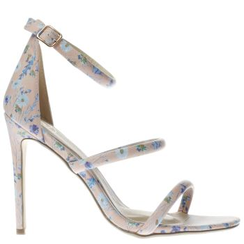 MISSGUIDED PALE PINK DITSY FLORAL 3 STRAP HIGH HEELS
