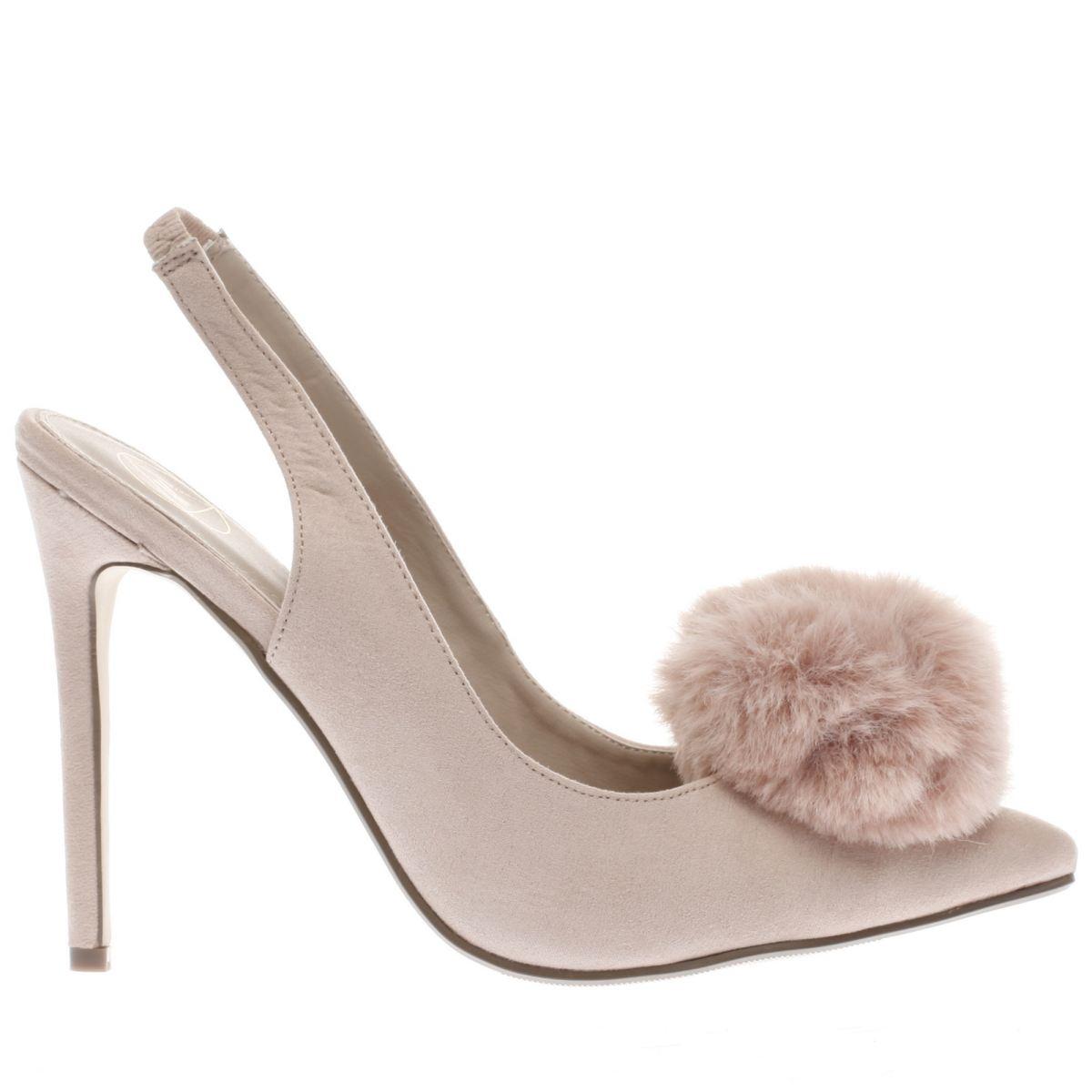 missguided natural pom pom slingback high heels