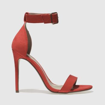 Missguided Red Flat Strap Barely There Womens High Heels