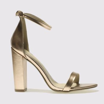 Missguided Gold Block Heel Ankle Strap Womens High Heels