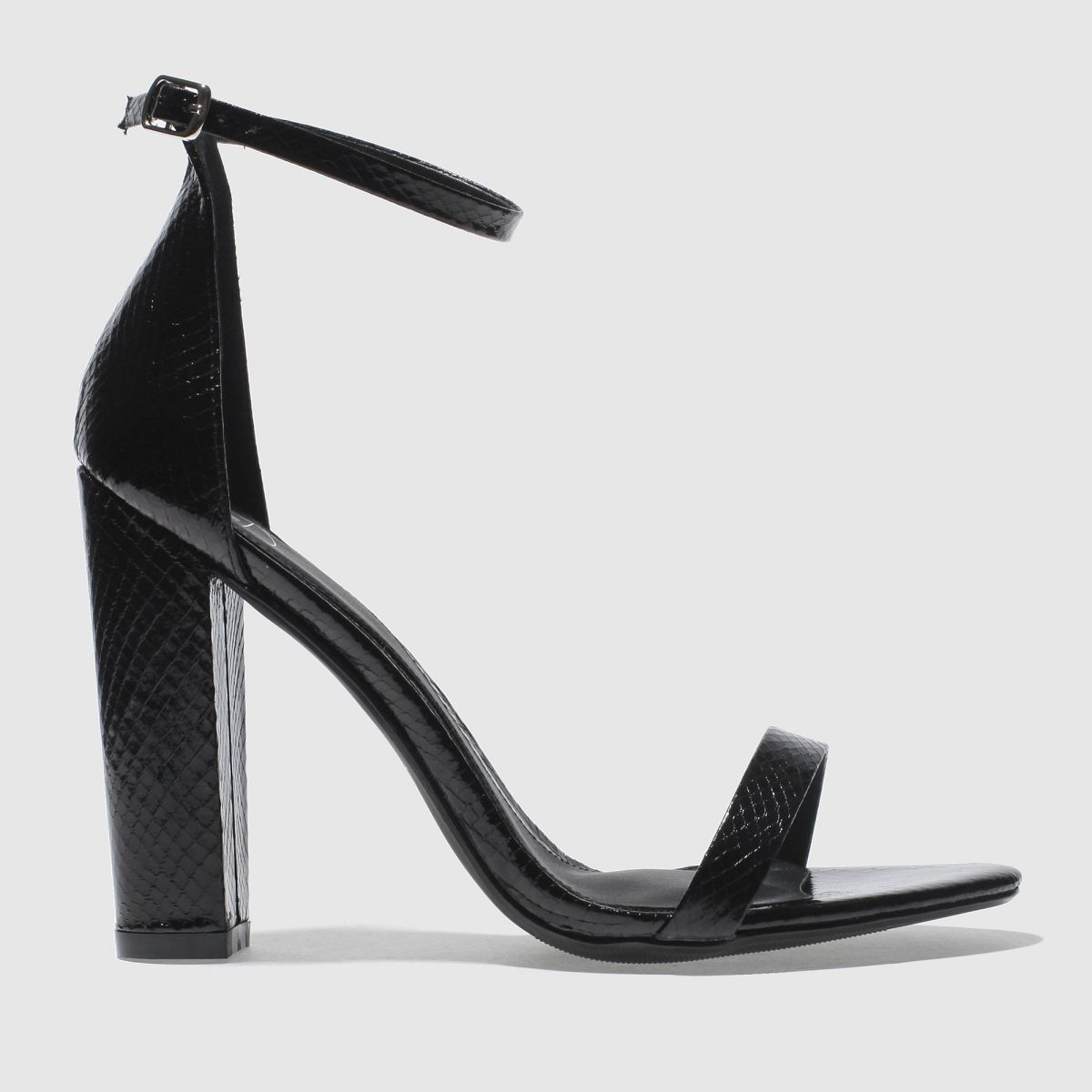 missguided Missguided Black Block Heel Ankle Strap High Heels