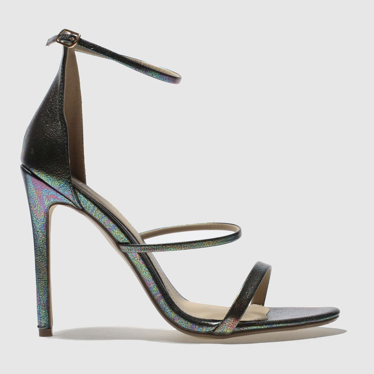 missguided Missguided Green 3 Strap Metallic Snake High Heels