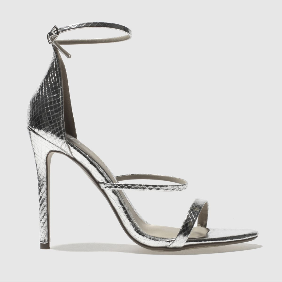 missguided Missguided Silver 3 Strap Metallic Snake High Heels
