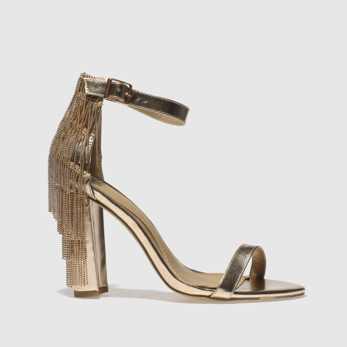 missguided Missguided Gold Metal Tassel Block High Heels