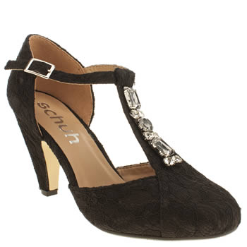 Schuh Black Art Deco Low Heels