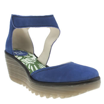 Womens Fly London Navy & Black Yiat Low Heels