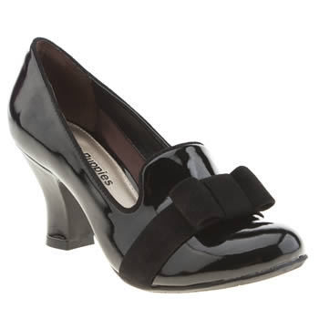 Hush Puppies Black Lolita Bow Patent Low Heels