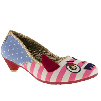 womens irregular choice white & pink fangtastic court low heels