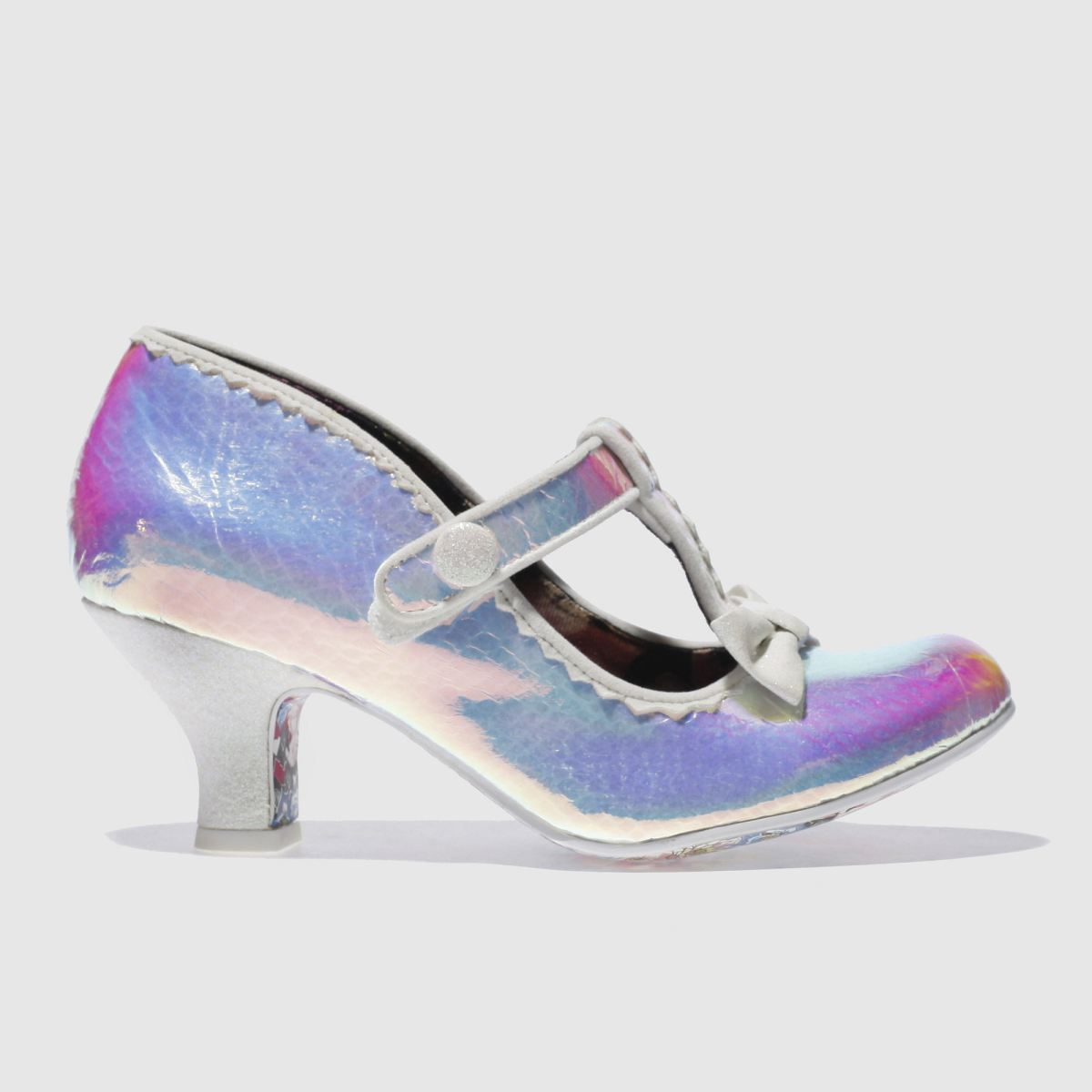 irregular choice white lazy river iridescent low heels