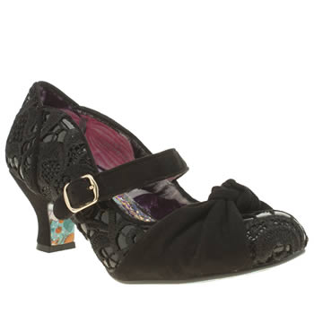 Womens Irregular Choice Black Fancy Knot Patent Lace Low Heels