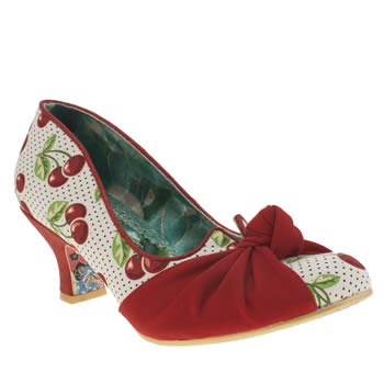 Irregular Choice White & Red Dazzle Pants Cherries Low Heels