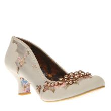 Irregular Choice White & Gold Pearly Dazzler Low Heels