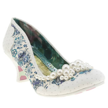 Irregular Choice White & Blue Pearly Dazzler Low Heels