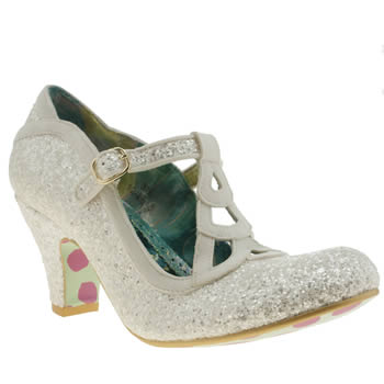 Irregular Choice White Nicely Done Glitter Low Heels