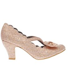 Irregular Choice Peach Final Bow Glitter Womens Low Heels