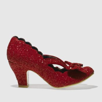 Irregular Choice Red FINAL BOW GLITTER Low Heels