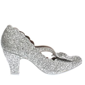Irregular Choice Silver Final Bow Glitter Low Heels