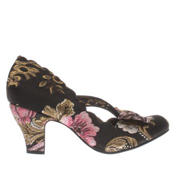 Irregular Choice Black & pink Final Bow Floral Womens Low Heels