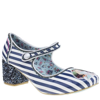 Irregular Choice White & Blue Alice Tick Tock Low Heels