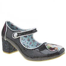 Irregular Choice Black & Silver Alice Tick Tock Womens Low Heels