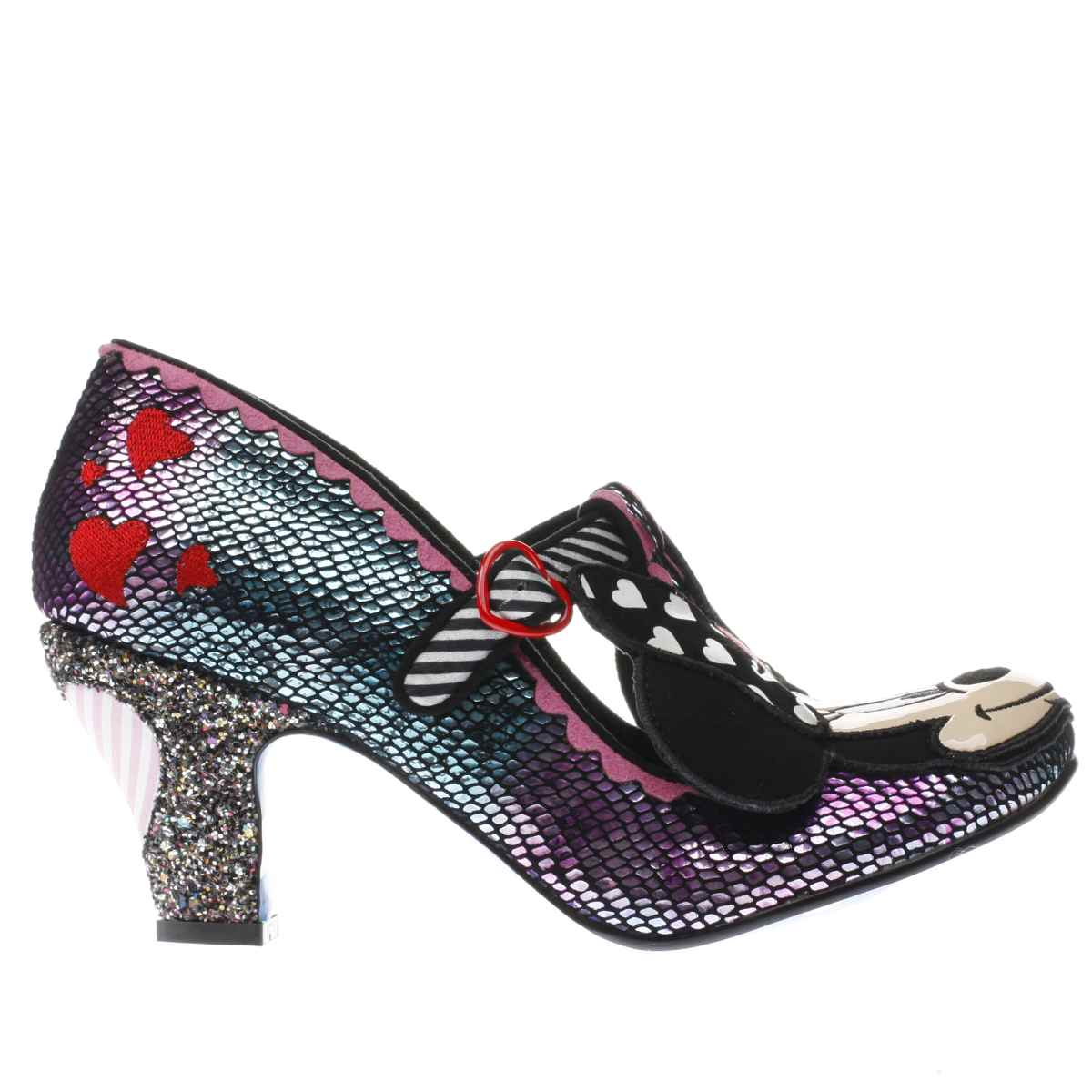 irregular choice purple & blue x disney i heart minnie low heels