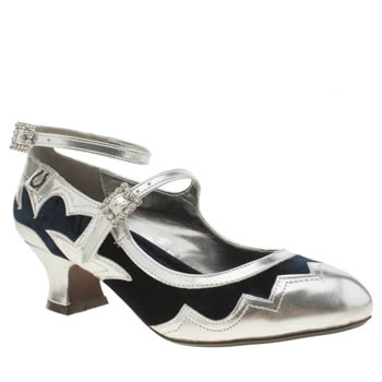 Miss L-fire Navy  Silver Vista Low Heels £70.00 AT vintagedancer.com