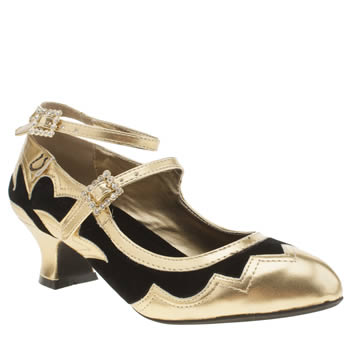 Miss L-fire Black  Gold Vista Low Heels £70.00 AT vintagedancer.com