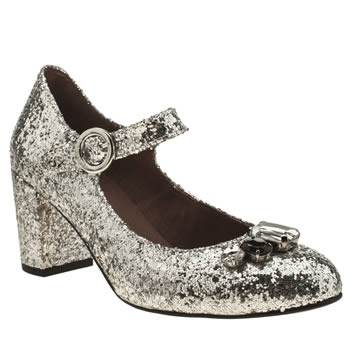Red Or Dead Silver Charleston Low Heels