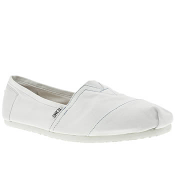 womens toms white classic slip flat shoes