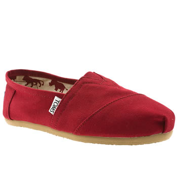 womens toms red classic slip flat shoes