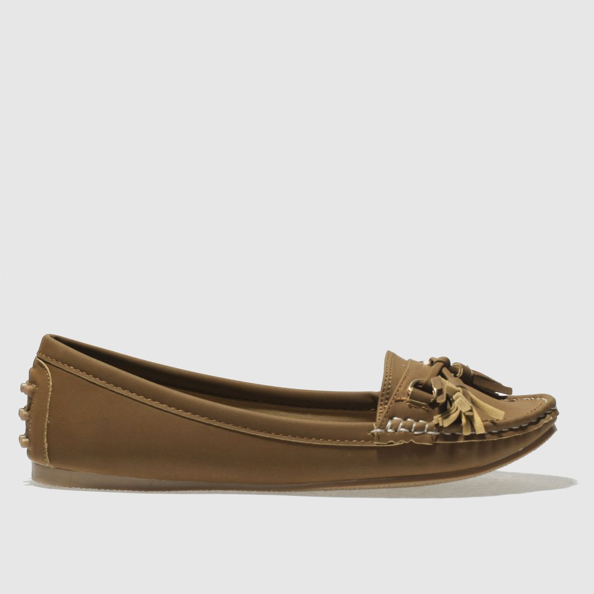 Schuh Tan Preppy Flat Shoes