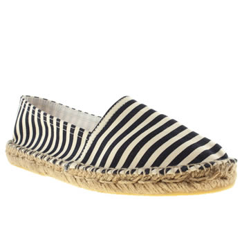 womens schuh navy & white festival flat shoes
