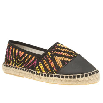 Womens Schuh Black & Orange Hoopla Flats