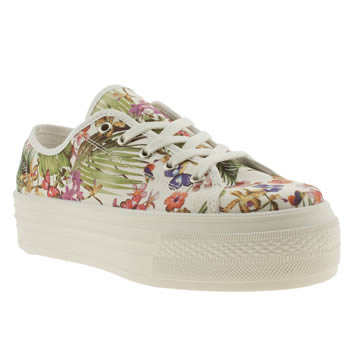 womens schuh white & green creep platform tropical flat shoes
