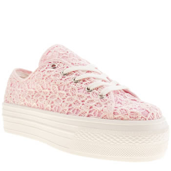 womens schuh white & pink creep platform lo lace flat shoes