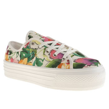 Womens Schuh White & Orange Creep Platform Lo Floral Flats
