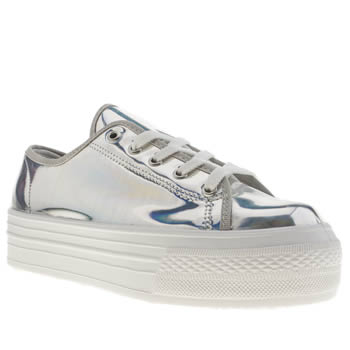 womens schuh silver creep platform lo metallic flat shoes